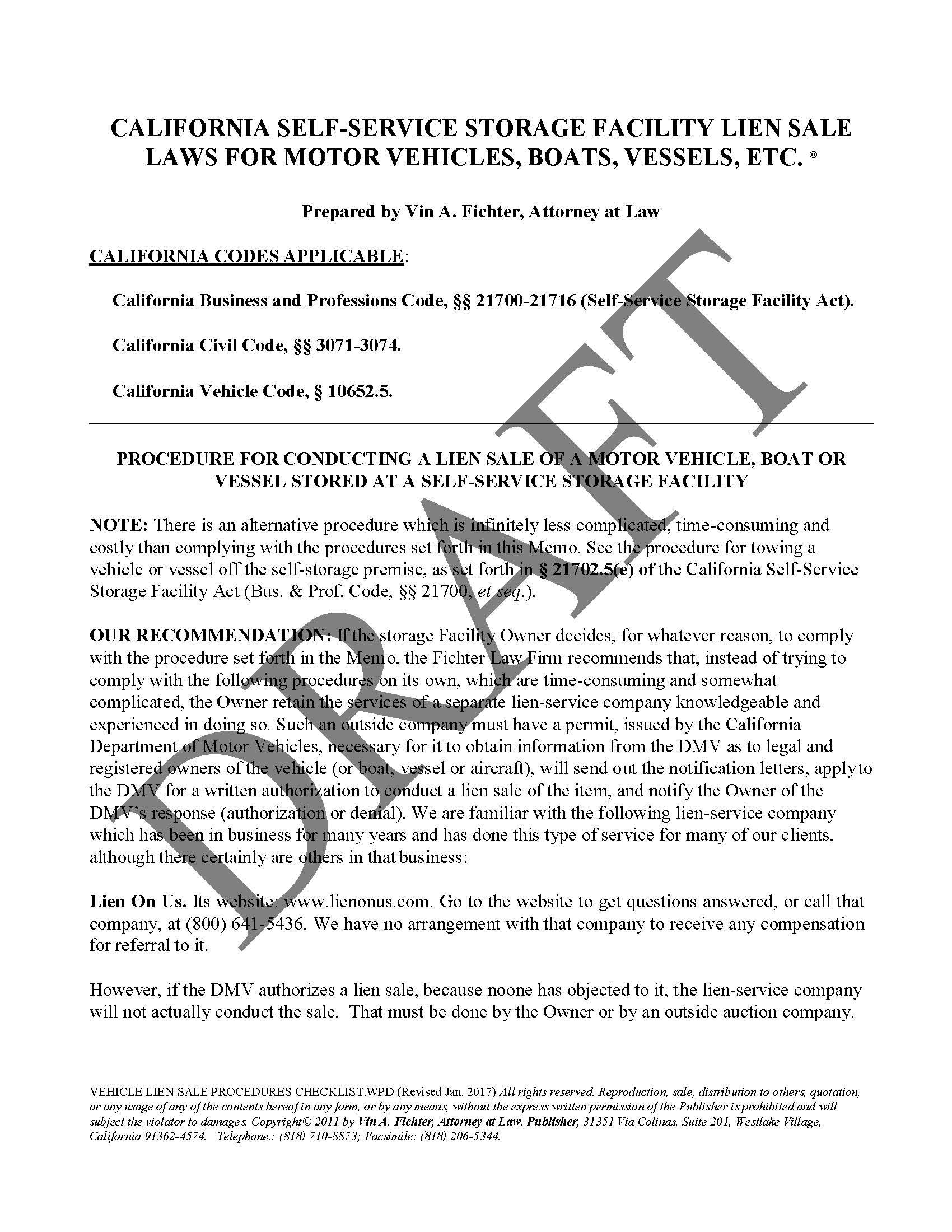 VEHICLE LIEN SALE PROCEDURES CHECKLIST_Page_1 vehicle lien sale procedures checklist law office of vin a fichter