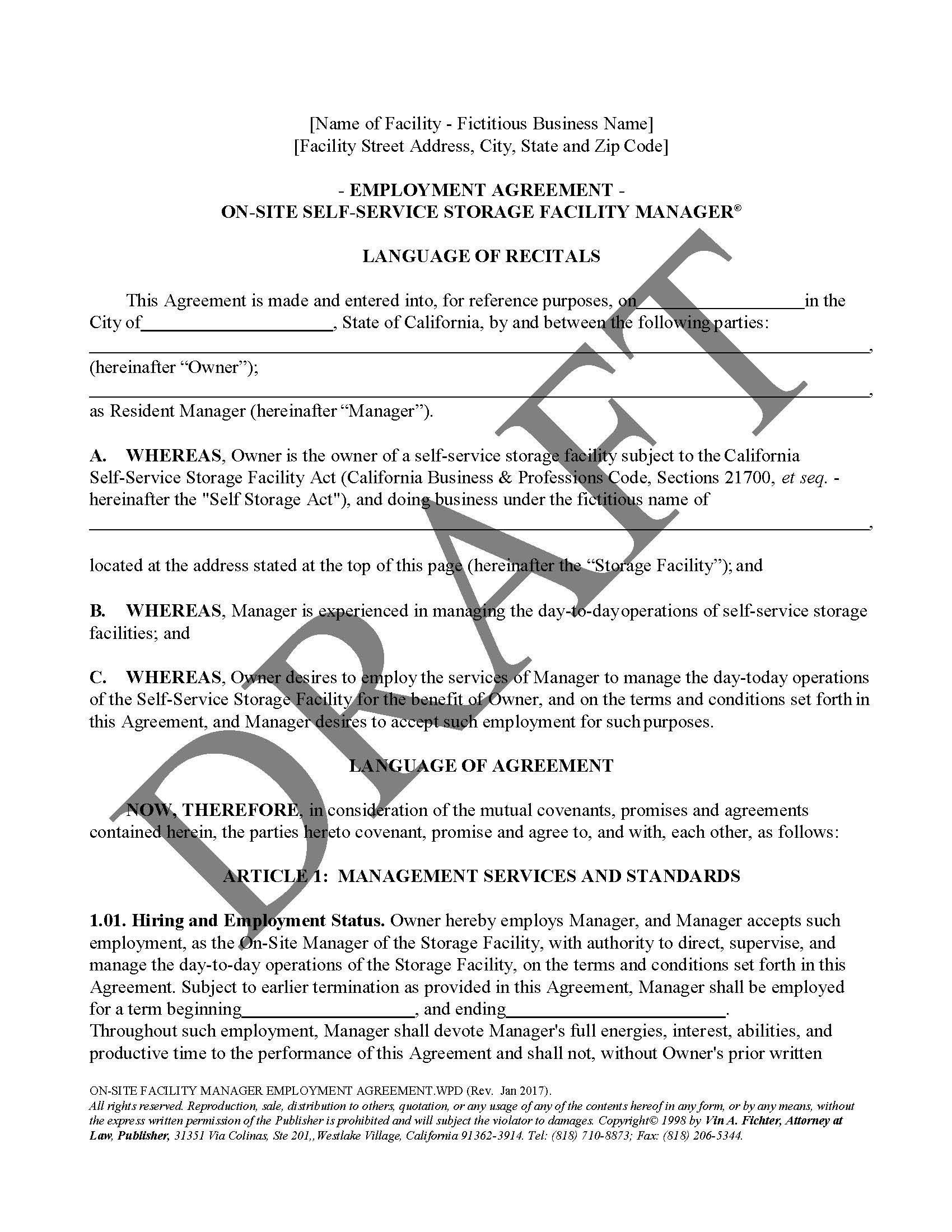 On Site Facility Manager Employment Agreement Law Office Of Vin A