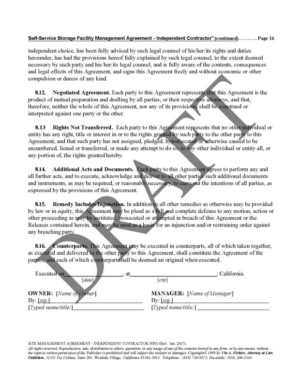 Site Management Agreement Independent Contractorpage16 Law